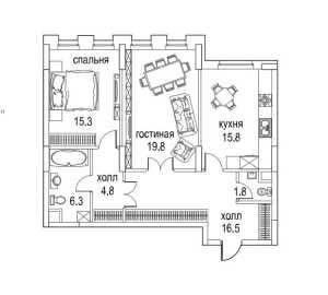 Планировка 2-комнатной квартиры в Алые паруса